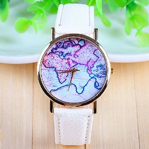 Amazon.com: 3 colors new arrival world map leather strap watches?(white): watches