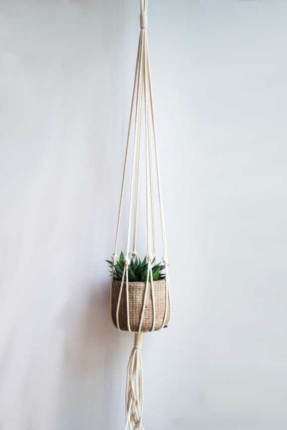 Macrame Plant Hanger / 40 Inch / 1/8 inch Braided Cotton Cord
