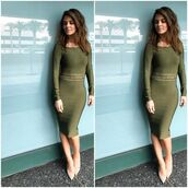 dress,bodycon dress,midi dress,pumps,maria menounos,olive green