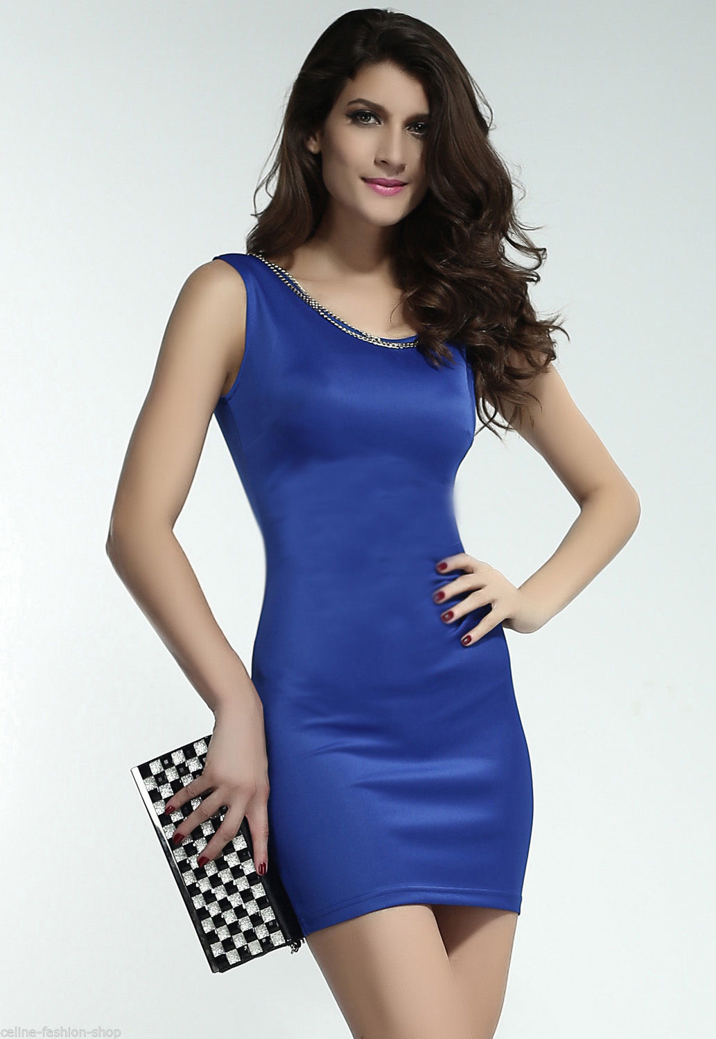 Fashion Sexy Pretty Clubwear Mini Clubwear Cocktail Party Blue Dress XL XXL | eBay