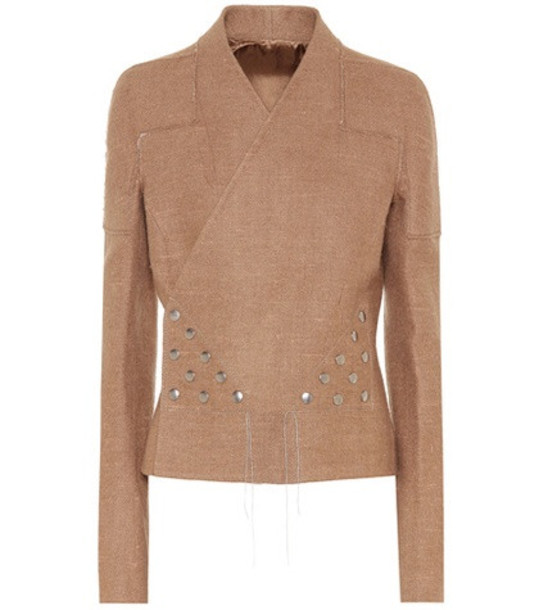 Rick Owens Snap camel and linen jacket in brown