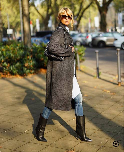 coat tumblr grey coat denim jeans blue jeans boots black boots sunglasses