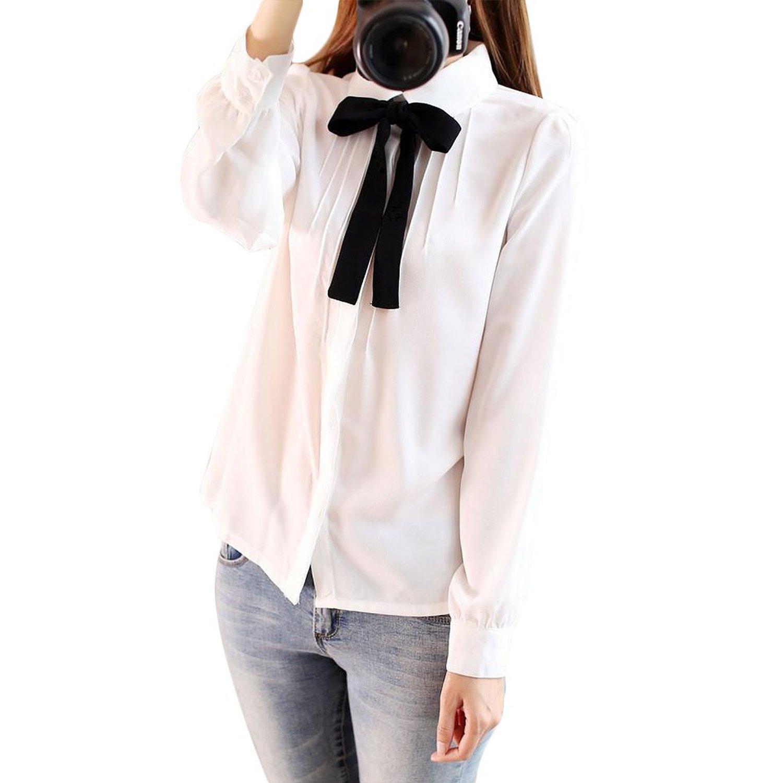 Elegant Bow Tie Chiffon Shirt Blouses Button Down Shirt at Amazon ...