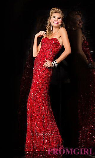 Floor Length Strapless Evening Gown by Scala