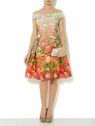 dress print dress floral dress untold off the shoulder printed fit and flare dress off shoulder dress light color drss