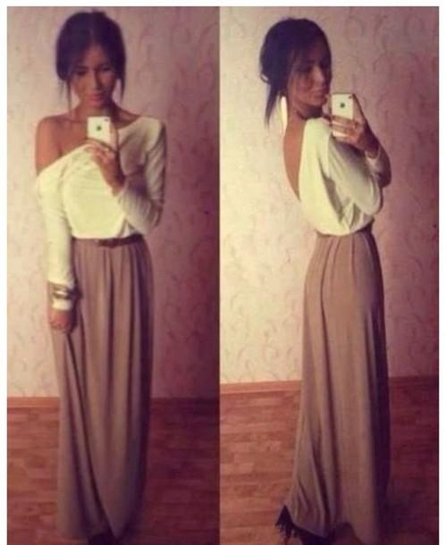Skirt: maxi, maxi skirt, brown, tan, nude, khaki, shirt
