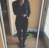 belt,all black everything,black,black boots,black high waisted pants,black crop top,black t-shirt,black heels,black shoes,black jeans,chunky heels,chunky boots,grunge shoes,grunge,top,pants,blac boots,heels,heeled,vintage boots,vintage shoes for her,vintage,indie,instagram,fashion,black fashion,sexy shoes,style,sexy,outfit,dope,trendy,girly,girl,tumblr outfit,tumblr shoes,tumblr,tumblr girl,tumblr clothes,fame top,hot pants,hot,mirror,autumn/winter,autumn boots,2014,shirt