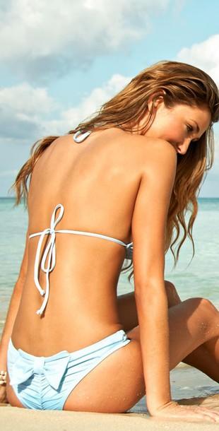 swimwear bikini with bows powder blue bikini