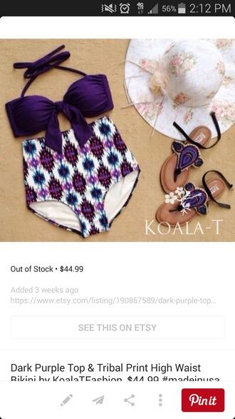 swimwear highwaisted bikini purple swimwear