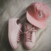 hat,pink hat,pastel pink,pink cap,urban pastel pink,pastel sneakers,all pink everything,shoes,adidas,cute,pink,love,girly,girly shoes,pastel,pastel goth,coat,snapback,supreme,urban,sneakers,adidas shoes