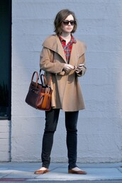 ballet flats,lily collins,bag,coat,shoes,sunglasses