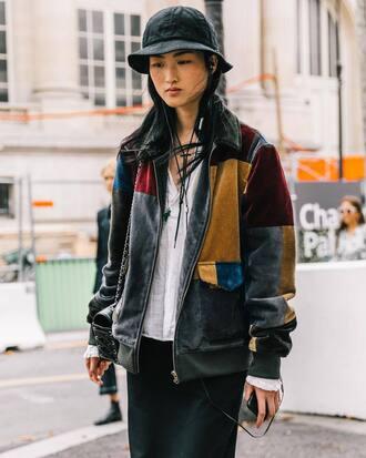 jacket velvet jacket tumblr streetstyle floppy hat hat patchwork