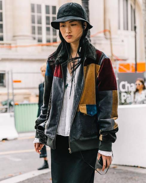 jacket velvet jacket tumblr streetstyle floppy hat hat patchwork c0b9c33d0a8