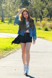 chloe ting,jacket,t-shirt,shorts,bag,jewels,shoes