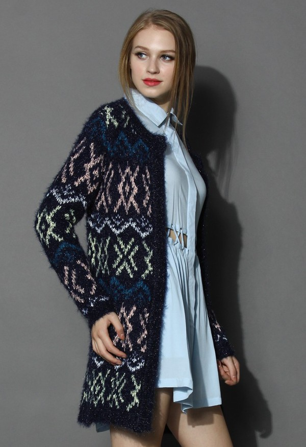 cardigan chicwish knitted cardigan navy cardigan