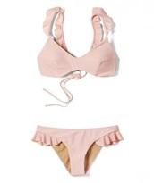 swimwear,blush pink,nude,bikini,bikini top,bikini bottoms,beach,pink swimwear,ruffle
