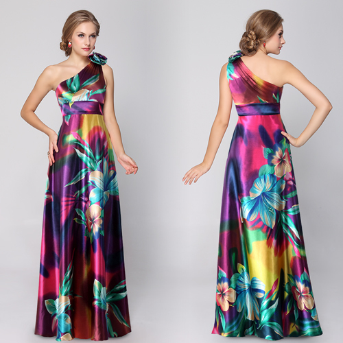 HE09623 Free Shipping One Shoulder Floral Printed Flower Satin Formal Evening Dress Long celebrity dresses-in Evening Dresses from Apparel & Accessories on Aliexpress.com