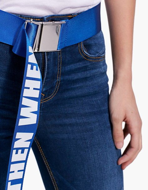 Stradivarius Belt With Clip Buckle And If Not Now Then When Slogan In Electric Blue