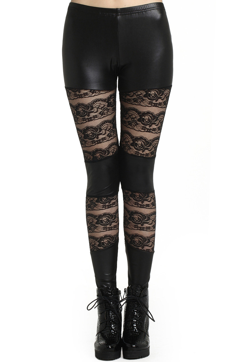 ROMWE | ROMWE Faux Leather Panel Lace Black Leggings, The Latest Street Fashion on Wanelo