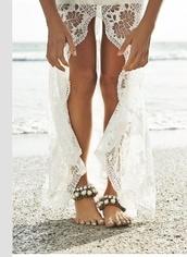 skirt,beach,bikini,sea,ocean,beach dress,beach wedding,high low skirt,shoes,wedding accessories,pearl,cuff bracelet,anklet,rhinestones,beach shoes,bracelets