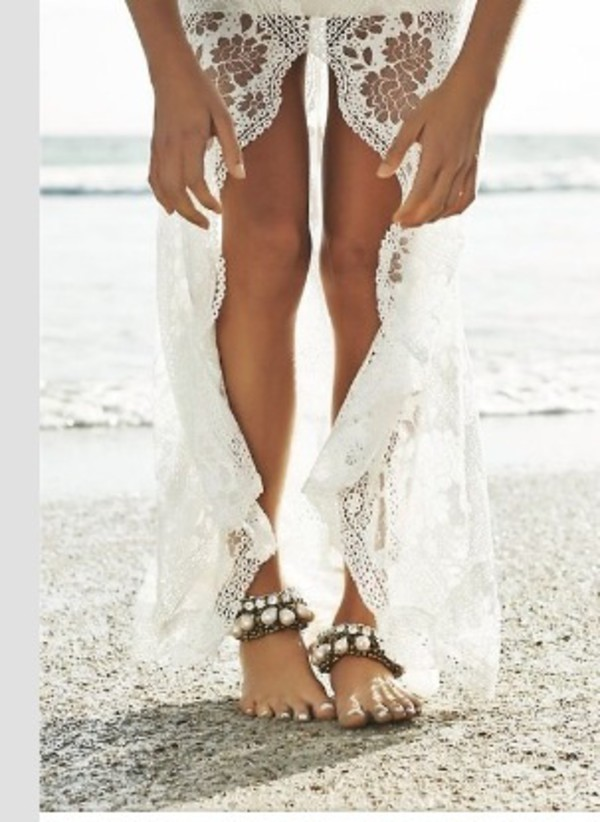 skirt beach bikini sea ocean beach dress beach wedding high low skirt shoes wedding accessories pearl cuff bracelet anklet rhinestones beach shoes bracelets