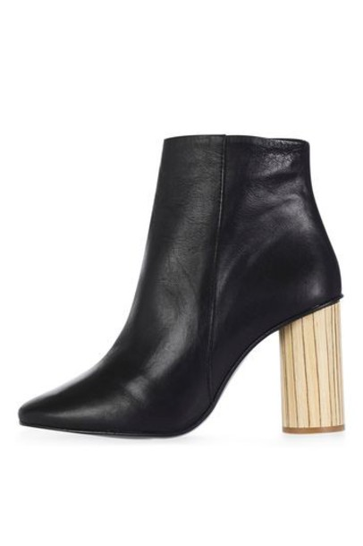 Topshop heel wood heel boots black shoes
