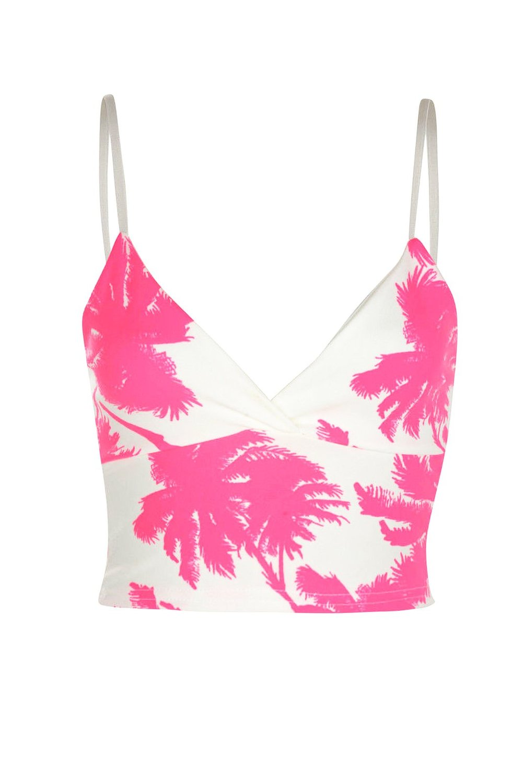 Amazon.com: womens pink palm tree print strap crop top (inx): clothing