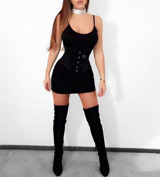 dcb69a1eff9 dress black dress mini dress sexy party dresses black thigh high boots thigh  highs choker necklace