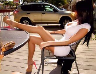 dress cap sleeve mini dress casual dress v neck dress nude pumps white dress bodycon dress nude high heels shoes