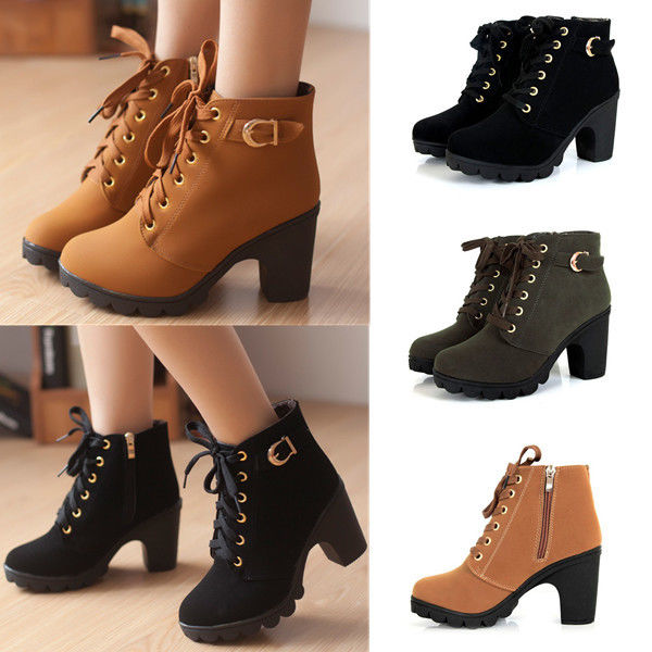 Ladies Winter Mid High Heel Ankle Boot Block Buckle Platform Lace ...