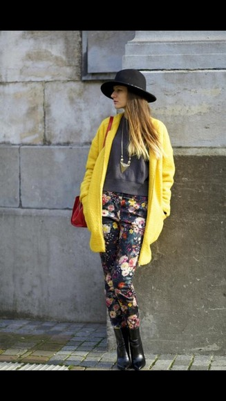 yellow trench coat coat floral jewelry red