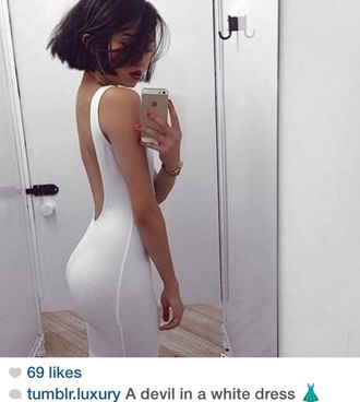 dress white low cut american apparel bodycon dress