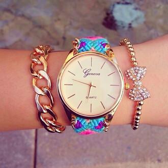 jewels chunky studs colorful stylish funny hip quartz beaded chain chain link friendship  bracelet geneva bracelets