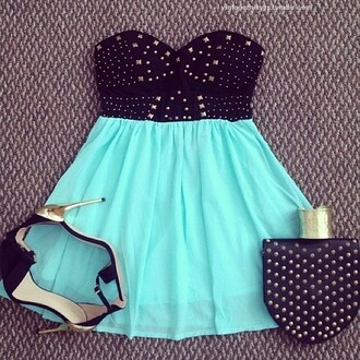 dress studded blue dress pastel heels high heels leather studs studded dress mint mini dress strapless
