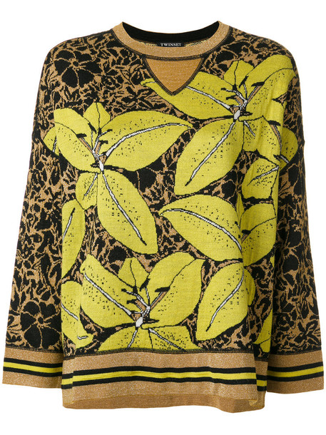 Twin-Set - floral metallic jumper - women - Acrylic/Wool/Metallic Fibre - M, Yellow/Orange, Acrylic/Wool/Metallic Fibre