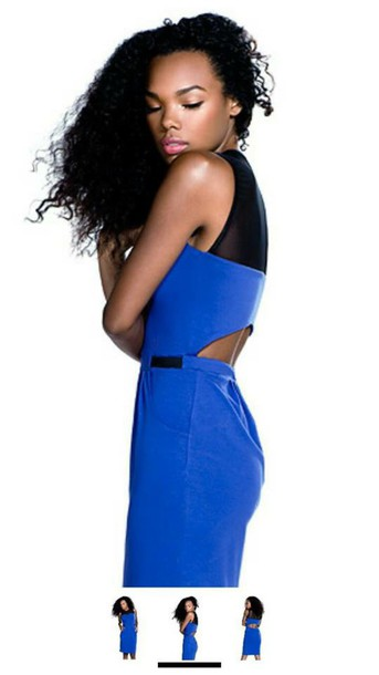 dress blue cut-out semi-sheer bodycon dress