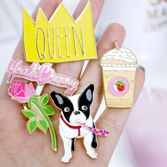 home accessory yeah bunny pins pastel pink dog tumblr coffee queen crown roses