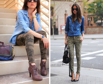 jeans t-shirt militar military style shoes