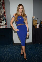 dress,sofia vergara,mtv movie awards,midi dress,bodycon