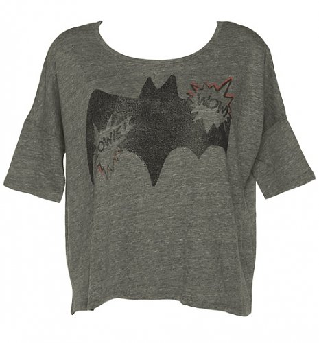 Ladies Steel Grey Batman Wow Raglan Sleeve Slouch T-Shirt From Junk Food : TruffleShuffle.com