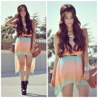 dress rainbow colourful green peach pink summer light floaty