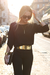belt,gold,high waist belt,accessories,fashion,gold belt,metal gold belt,pants,shirt,gold metal belt,blouse,jewels,dress,jumpsuit,black jumpsuit,couture,bag,clssy,cool,me,black outfit,jumper,black,mirror,strech,glitter,yolo,swag,girly,glamour,bling,classy,fancy as fuck,high class,shiny,big belt,fancy,golden belt,hollywood,style,luxury,chic,gold thick,black pants,corporate,corporate chic,designer,top,black top,waist belt,casual,dressy,outfit,backless,all black everything,blonde hair,ponytail,necklace,gold bracelet,black and gold
