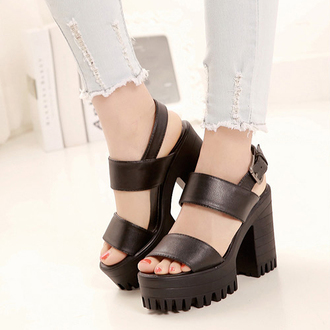sandals ankle straps pu leather buckle black chunky heels black chunky shoes black chunky sandals