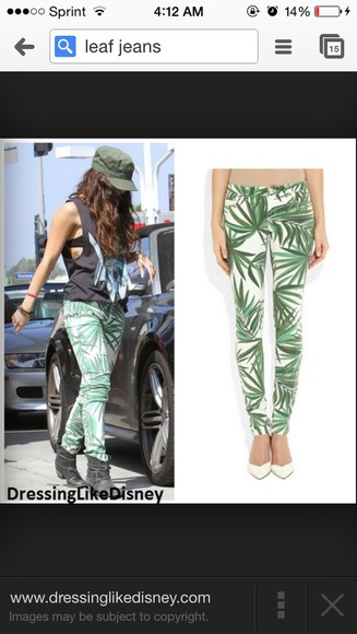 green leaf jeans green pan white leaf pattern green pants pants dressy bottoms