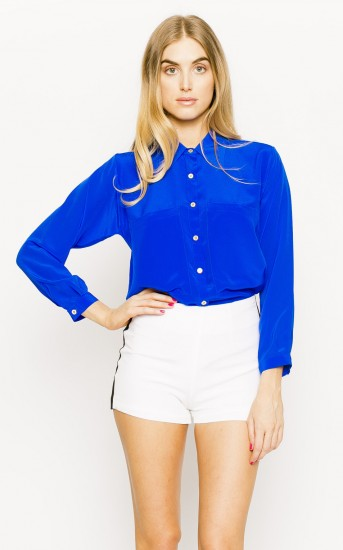 Long Sleeve Bardot Blouse- Vegas Blue
