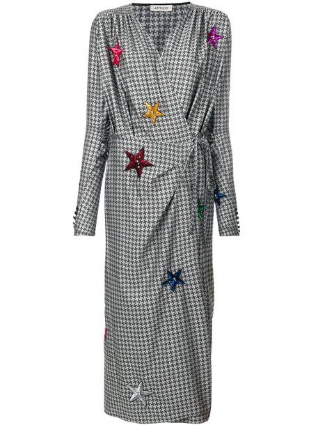 Attico dress wrap dress women silk grey houndstooth
