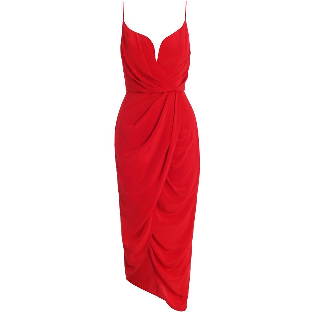 Zimmermann Silk Plunge Drape Dress Flame