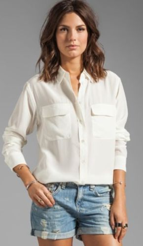 $208 Equipment Femme Signature Silk Blouse Shirt Nature White Defect | eBay