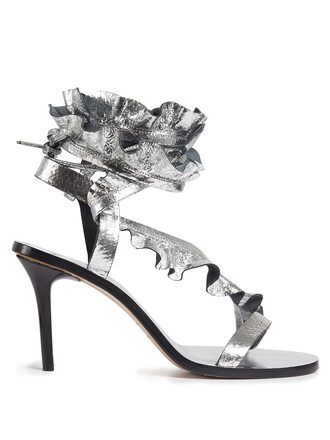 ruffle sandals leather sandals leather silver shoes