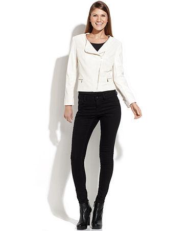 Calvin Klein Asymmetrical Faux-Leather Jacket - Jackets & Blazers - Women - Macy's